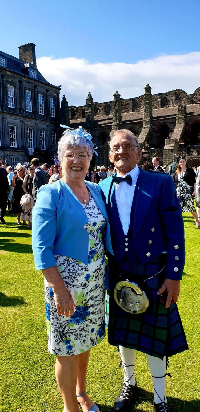 Bernie Adams and her husband, Ronnie attend the Queen's Garden Party