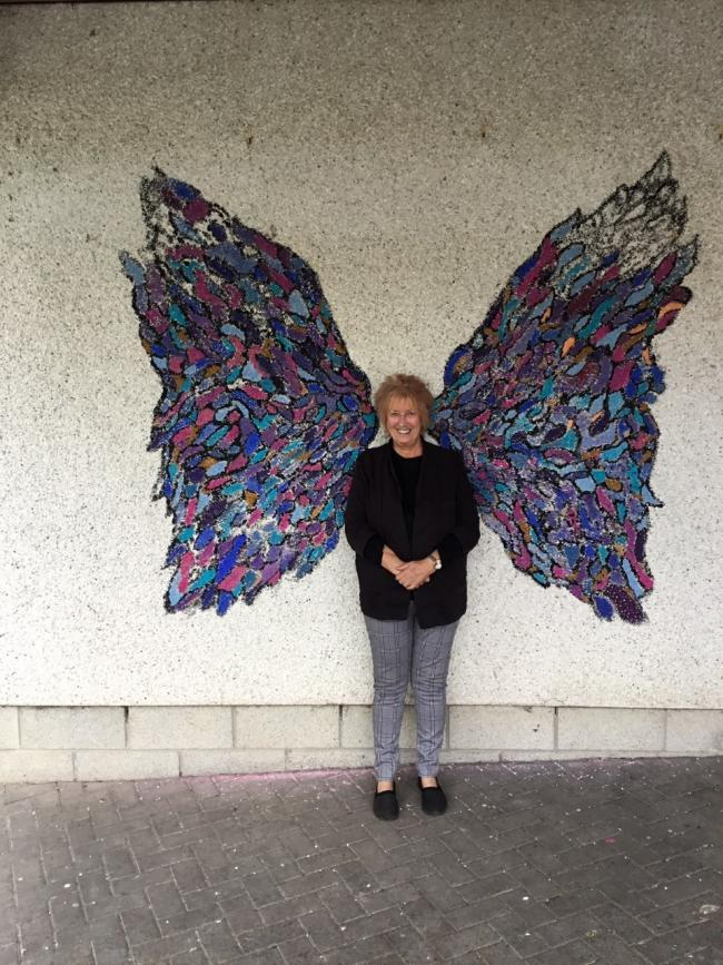 Christine Grahame MSP poses with her angel wings