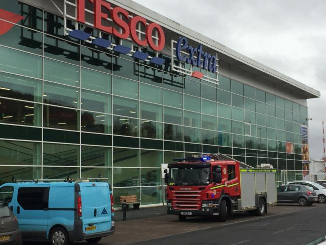 Fire crews were called to Tesco just after 11am