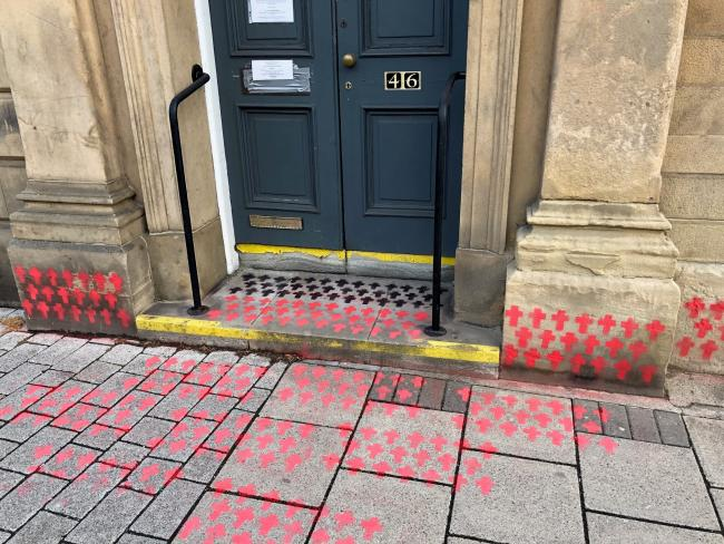 Markings appeared outside Christine Grahame's office in Galashiels last week