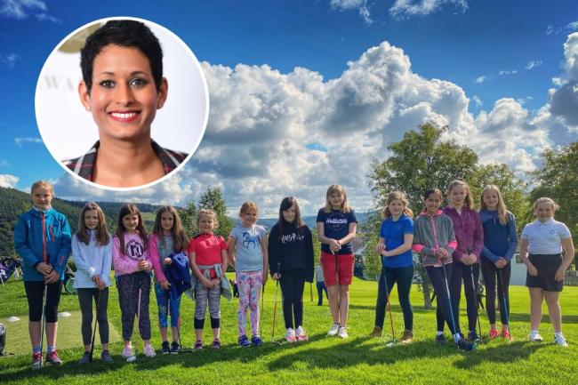 Naga Munchetty (inset) retweeted a post from Peebles Golf Club after more girls than boys attended a junior session on September 6. Photos: Peebles Golf Club and Ian West/PA Wire