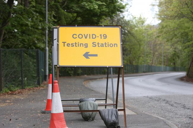 COVID-19 testing station at Netherdale, Galashiels.