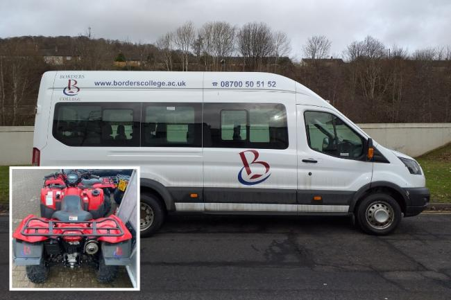 A selection of minibuses, quadbikes and tools were stolen from a Borders College site this week. Photo: Borders College/Police Scotland