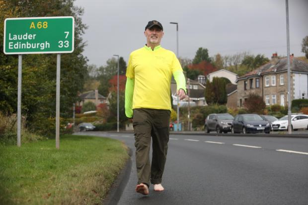 Mark Wands, from Earlston, is taking part in a barefoot relay. Photo: Helen Barrington