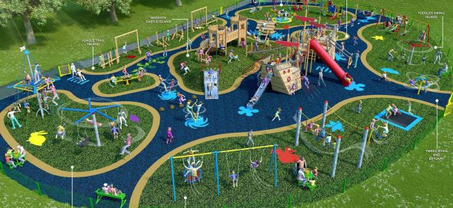 An artist's impression of the new playpark in Peebles. Photo: SBC