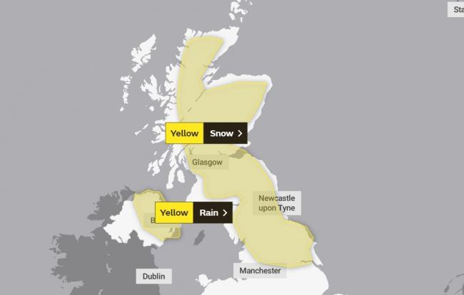The Met Office weather warning applying to Thursday, January 14, 2021