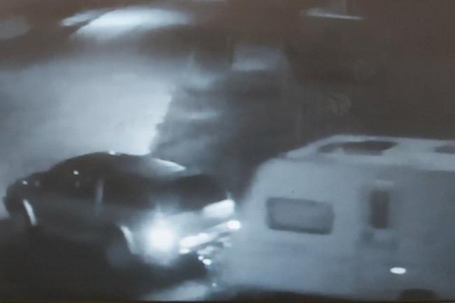 A CCTV image of the caravan being towed away. Photo: Police Scotland