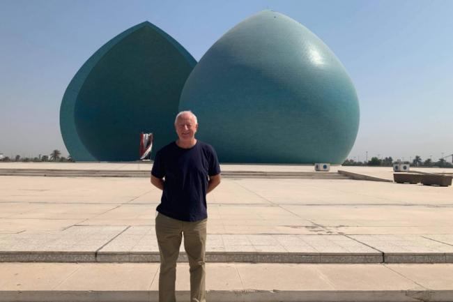 Doug Gilchrist, from Galashiels, at the Monument of the Martyrs in Baghdad, Iraq