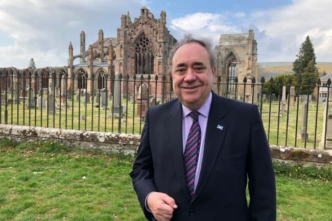 Alex Salmond visiting Melrose on April 26 during the Alba Party's Scottish Parliament election campaign