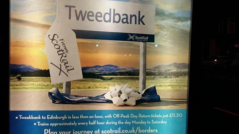 Susan Black spotted this sign advertising the Borders Railway, which wrongly directs passengers to Tweekbank.