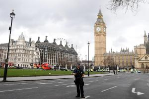 Police outside the Palace of Westminster, London after sounds similar to gunfire are heard within the palace precincts (Photo: Victoria Jones/PA wire)