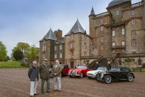 BVAC chairman David Hunter, Captain Gerald Maitland Carew from Thirlestane Castle and Kevin Ferguson from sponsor JRW Chartered Accountants line up with car enthusiasts Robin Wild, Richard Salem, John Wilkinson and Tim Jackson at Thirlestane Castle.