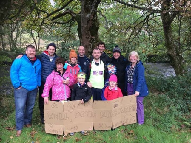 Richard with family and friends at the end of the mountain marathon
