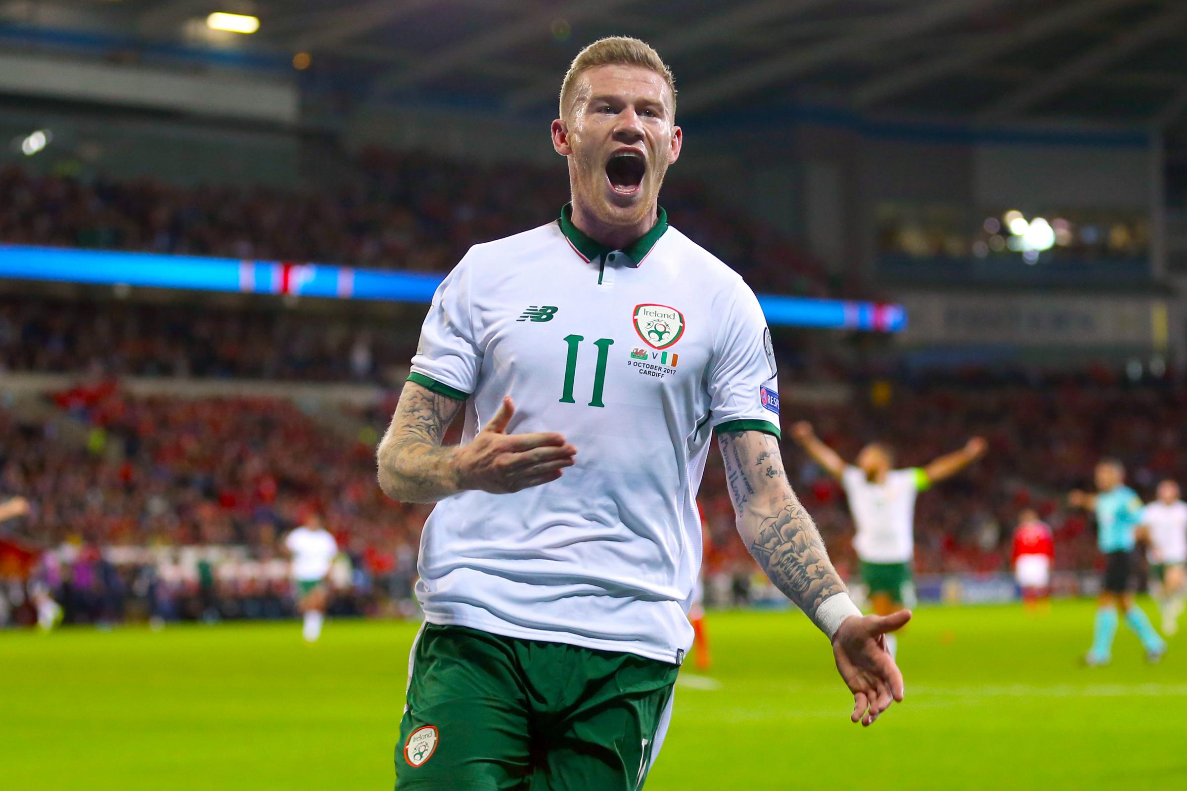 Republic of Ireland's James McClean celebrates scoring his side's first goal of the game during the 2018 FIFA World Cup Qualifying Group D match at the Cardiff City Stadium, Cardiff.