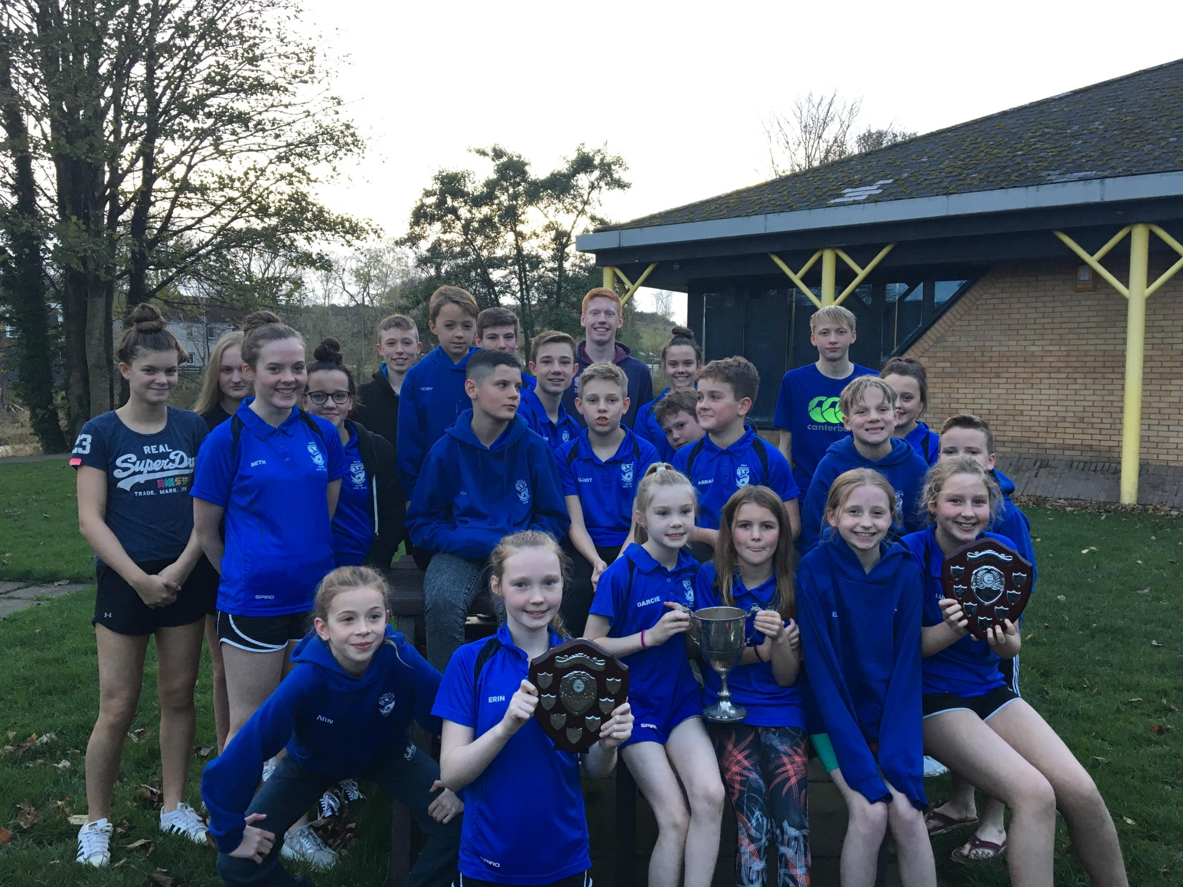 Galashiels Amateur Swimming Club members with the relay trophies