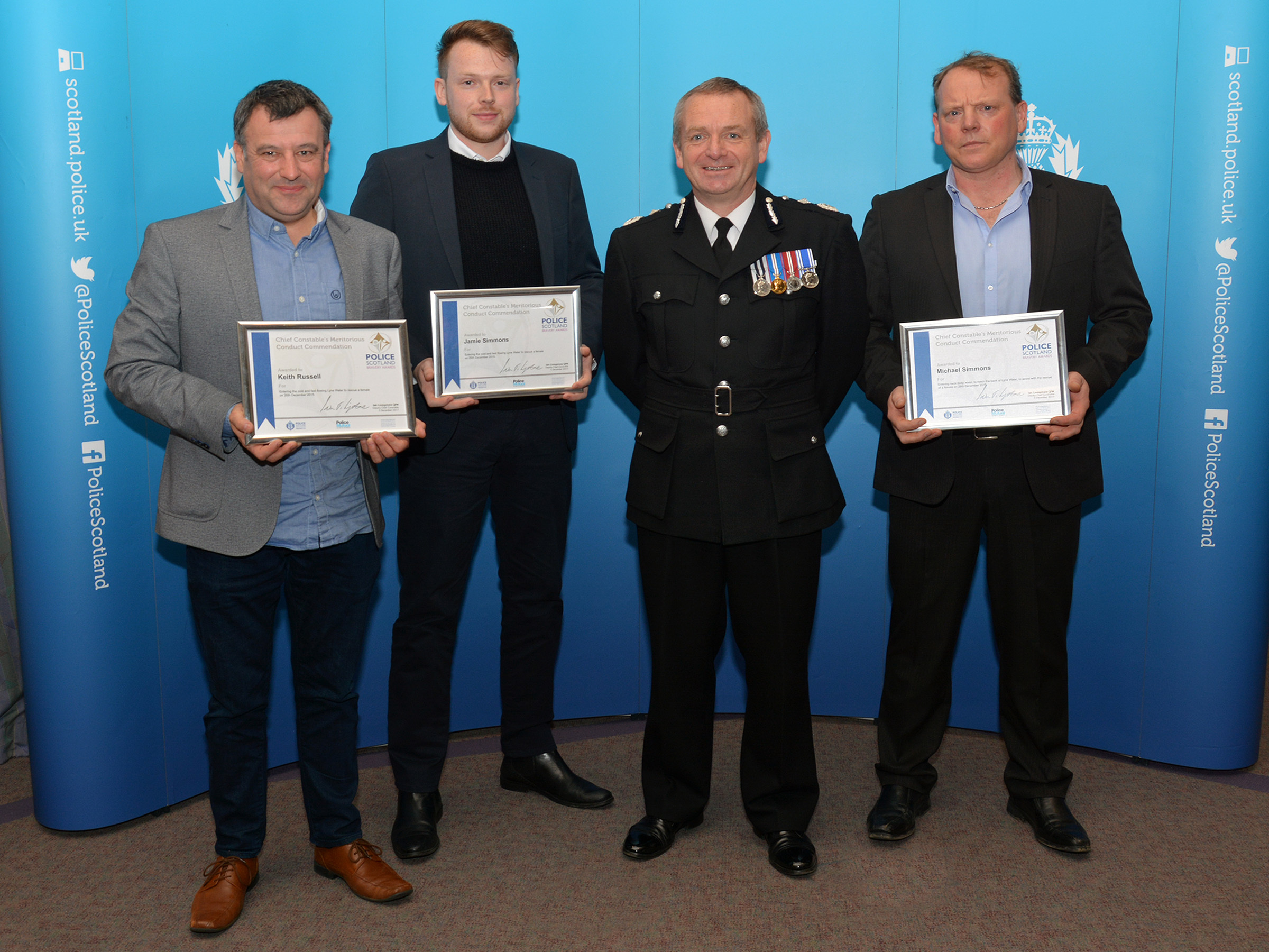 Keith, Jamie and Michael collected their award this week from Deputy Chief Constable Iain Livingstone