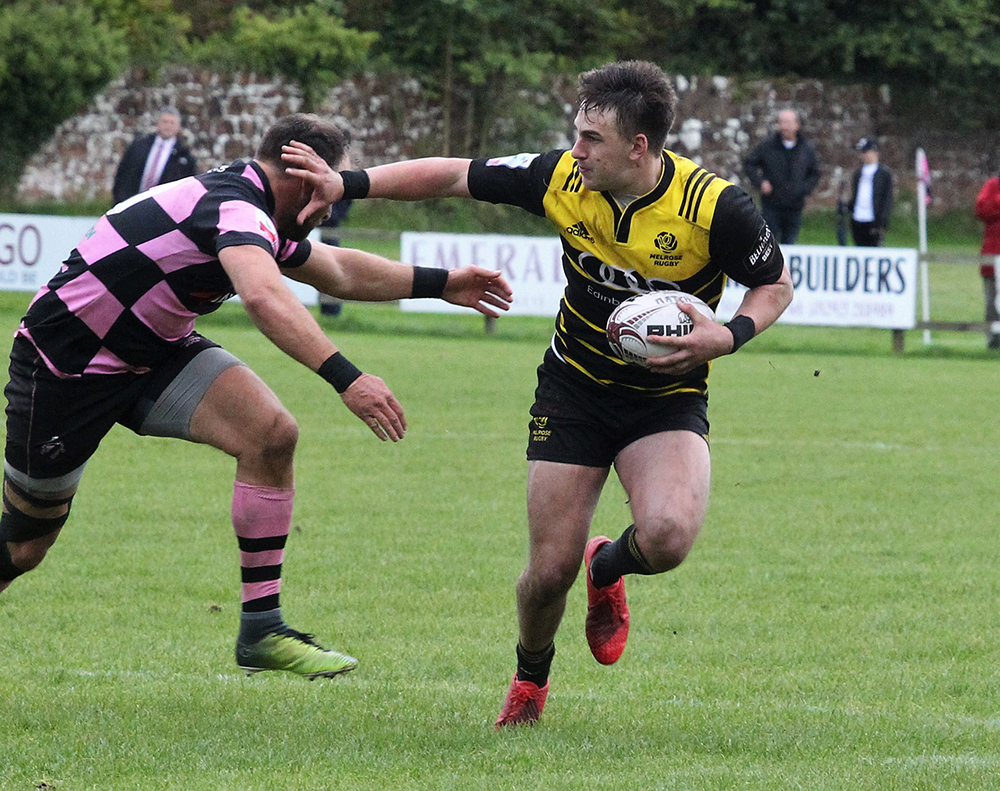 Craig Jackson scored Melrose's first try of the game. Photo: Douglas Hardie