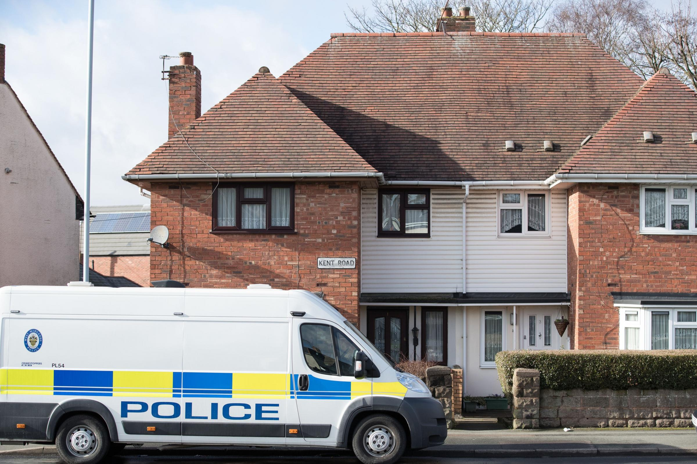 Police presence outside the property on Kent Road in Wolverhampton (Aaron Chown/PA)