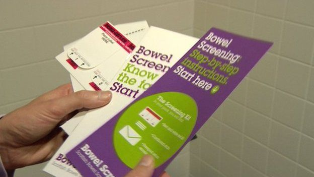 Bowel sample kits are sent to everyone between 50 and 74