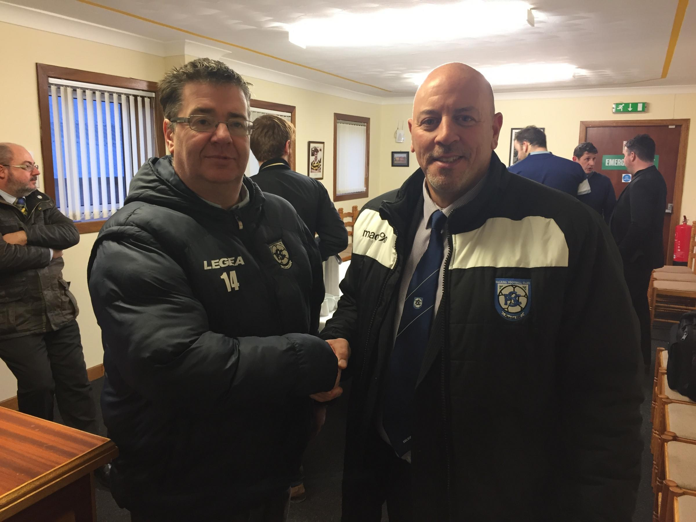 John Coughlin with Selkirk chairman Ross Anderson following Saturday's match