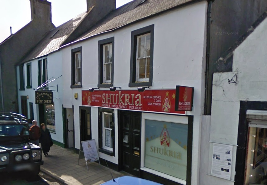 The Shukria Indian takeaway on the Northgate in Peebles has two nominations for the 2018 Scottish Curry Awards. Photo: Google Maps