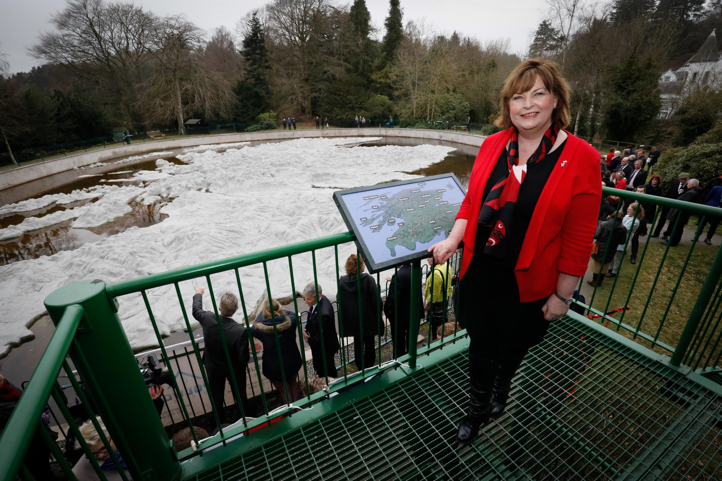 Culture Secretary Fiona Hyslop visited the map's site at the Barony Castle Hotel in Eddleston