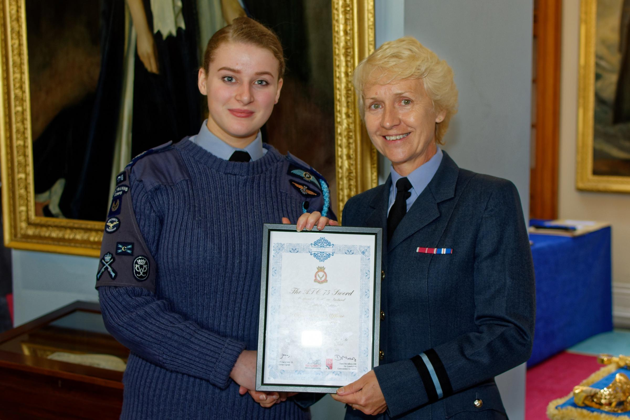 Lauren Cardwell with Commandant Air Cadets, Air Commodore McCafferty