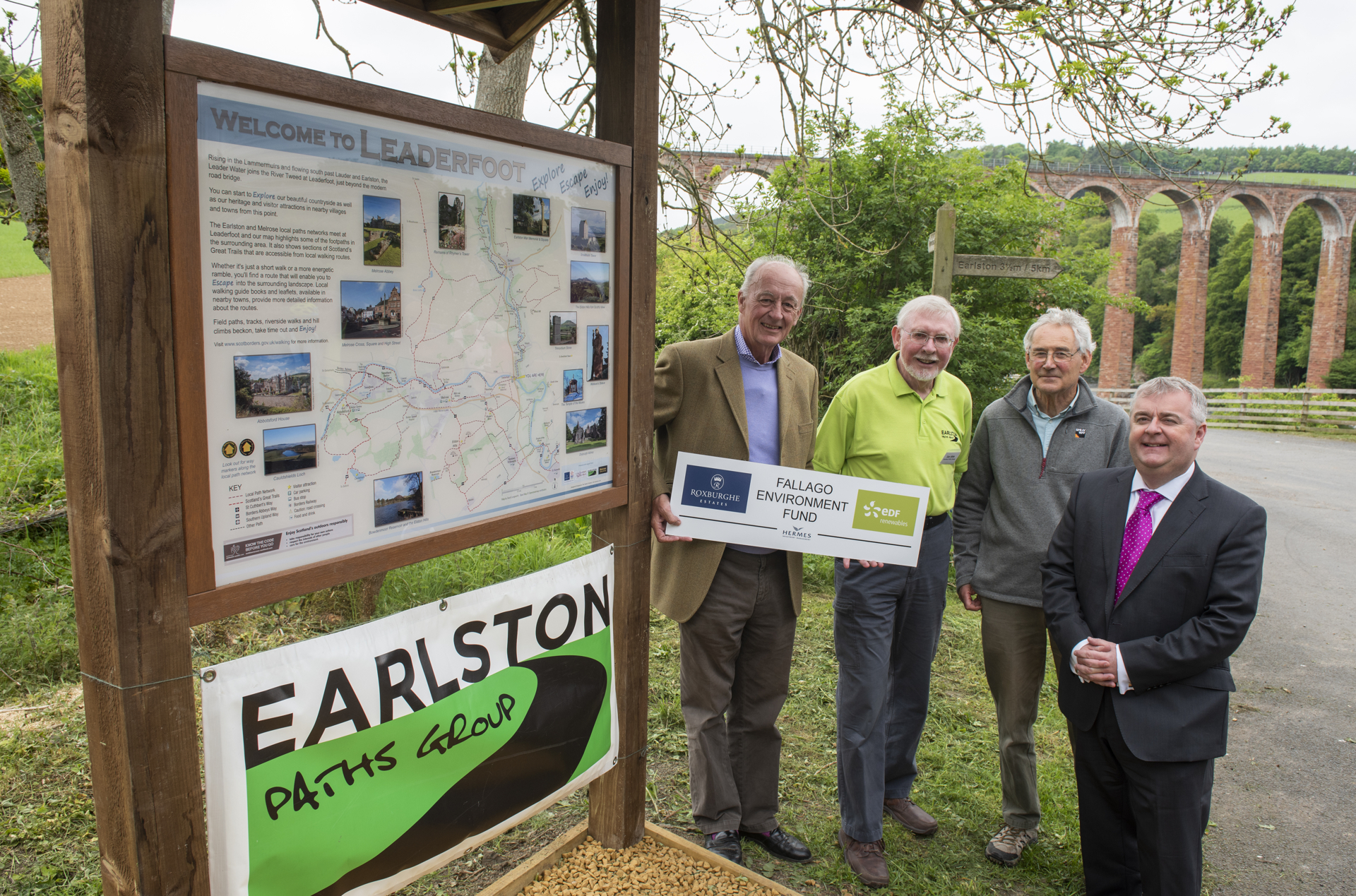The Duke of Roxburghe unveils a new walking map at Leaderfoot  Ian Gibb, David Langworth and councillor David Parker