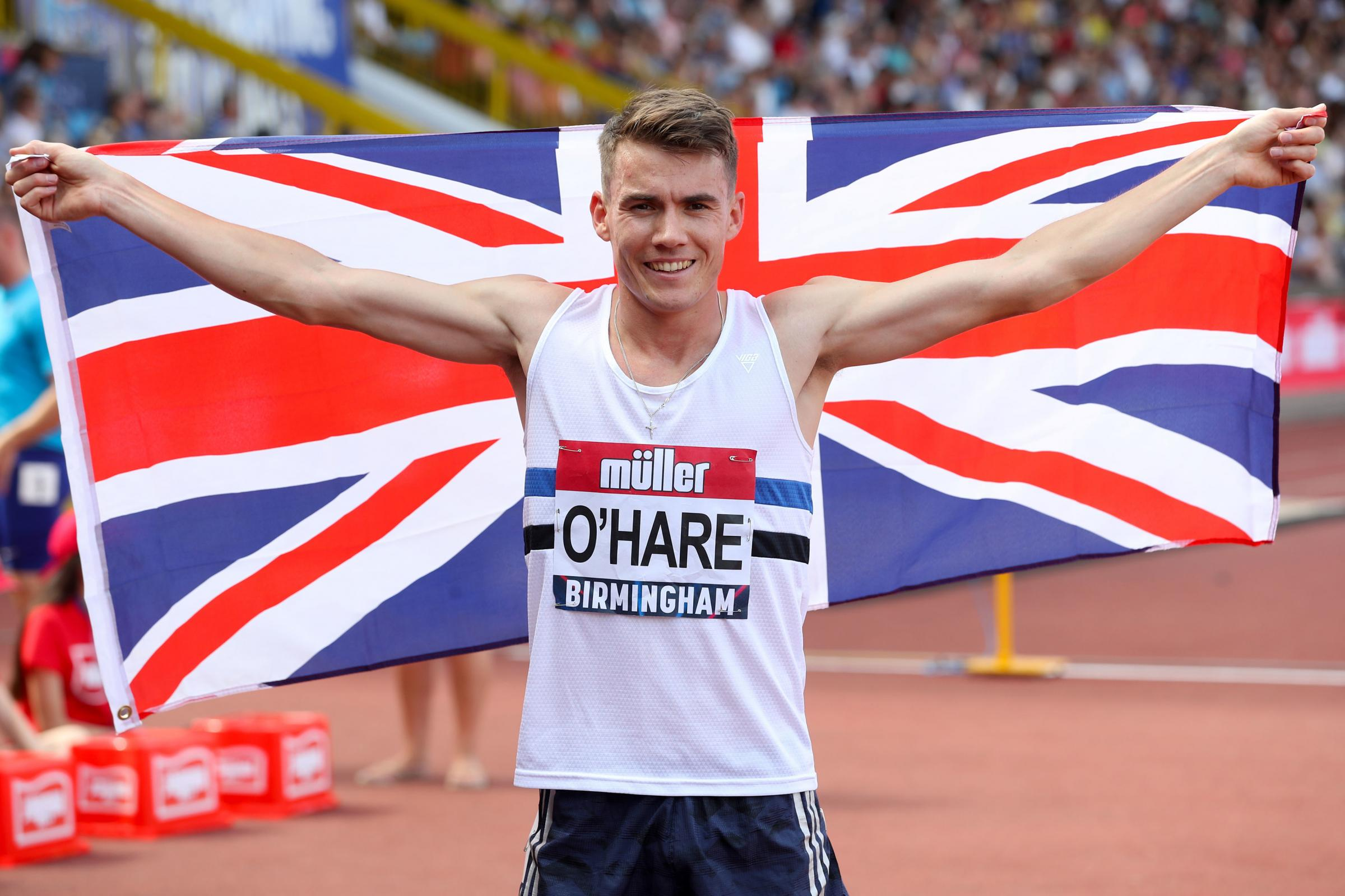 Chris O'Hare celebrates winning the Men's 1500 metres final during the Muller British Athletics Championships at Alexander Stadium, Birmingham. Photo: Martin Rickett/PA Wire.