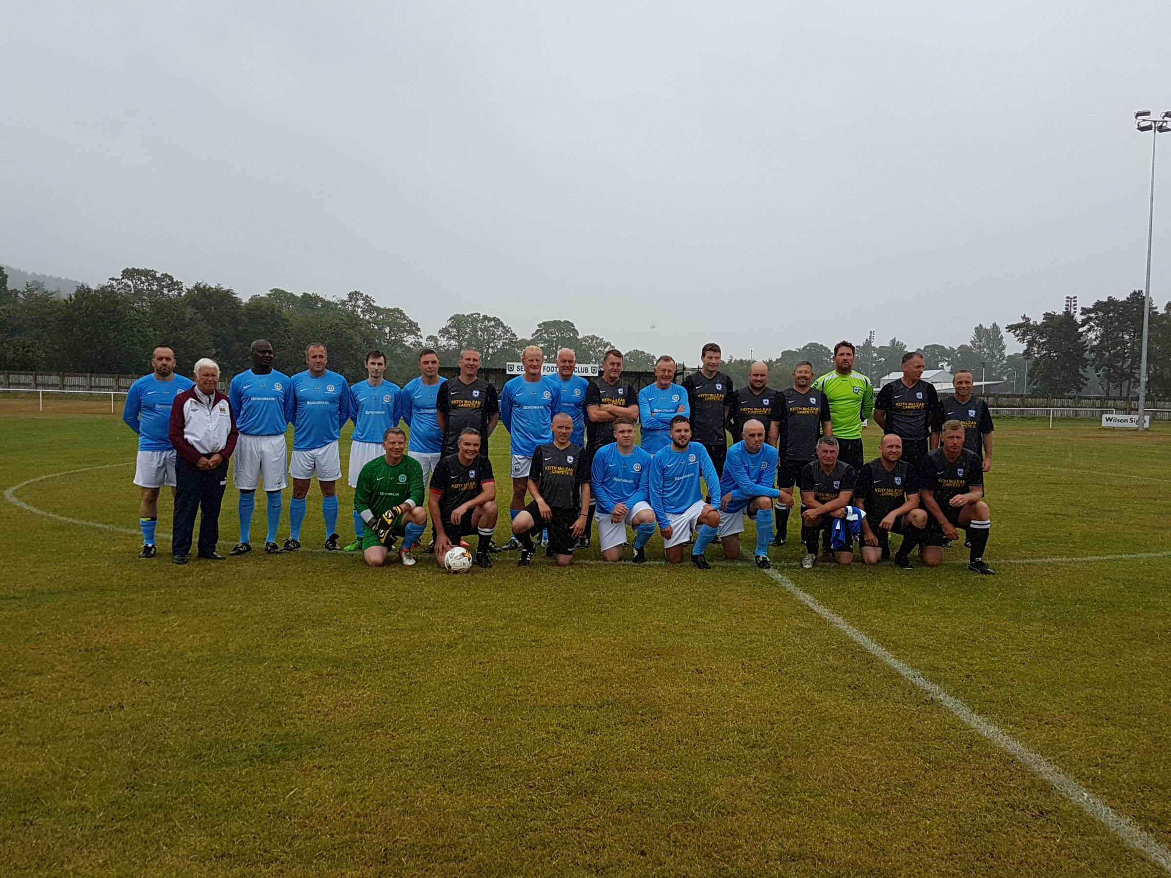 Selkirk Legends and Manchester City Legends line up ahead of kick off. Photo: Sheree Davison