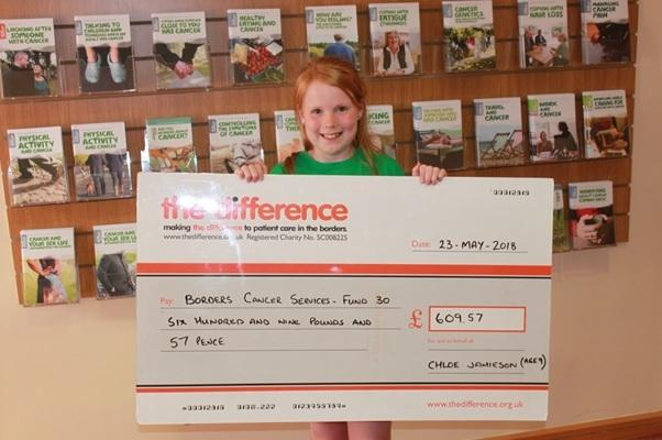 Chloe with her cheque