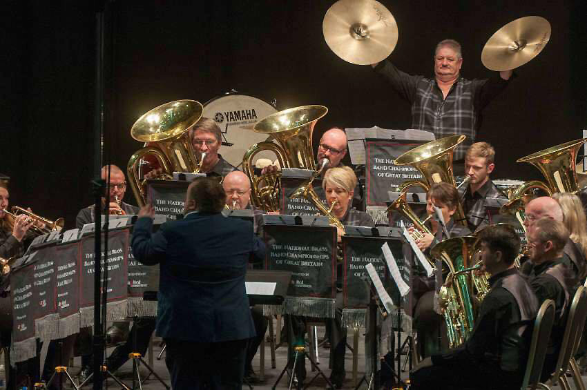 Percussionist Graham Borthwick crashes the cymbals during Selkirk Silver Band's top-drawer display at Sunday's National Brass Band Championships of Great Britain in Cheltenham.  Photo: British Bandsman Magazine