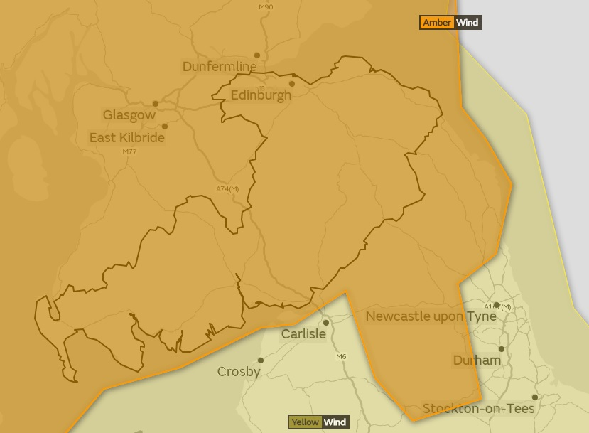 Storm Ali update: Met Office upgrades warning to 'high' for the Scottish Borders. Photo credit: Met Office
