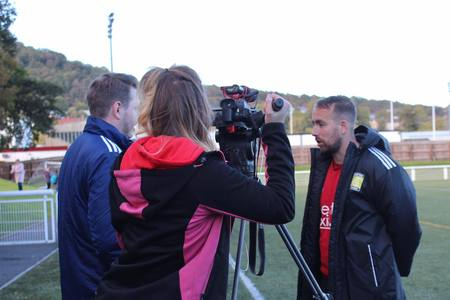 Dean Shanks being interviewed during Gala's Scottish Cup run.