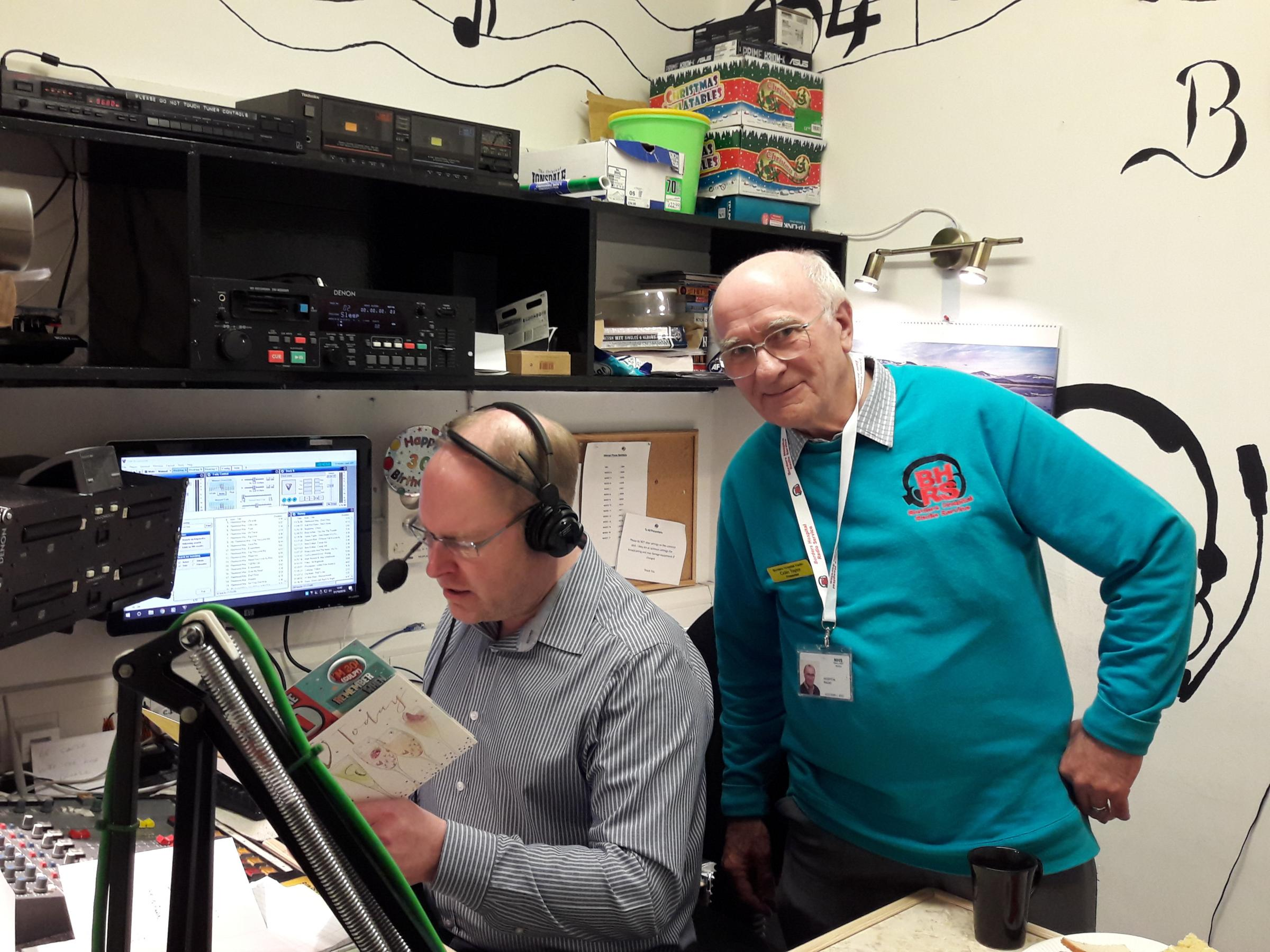 Keith Clarkson from Radio Borders with longest serving Presenter Colin Taylor from Borders Hospital Radio Station
