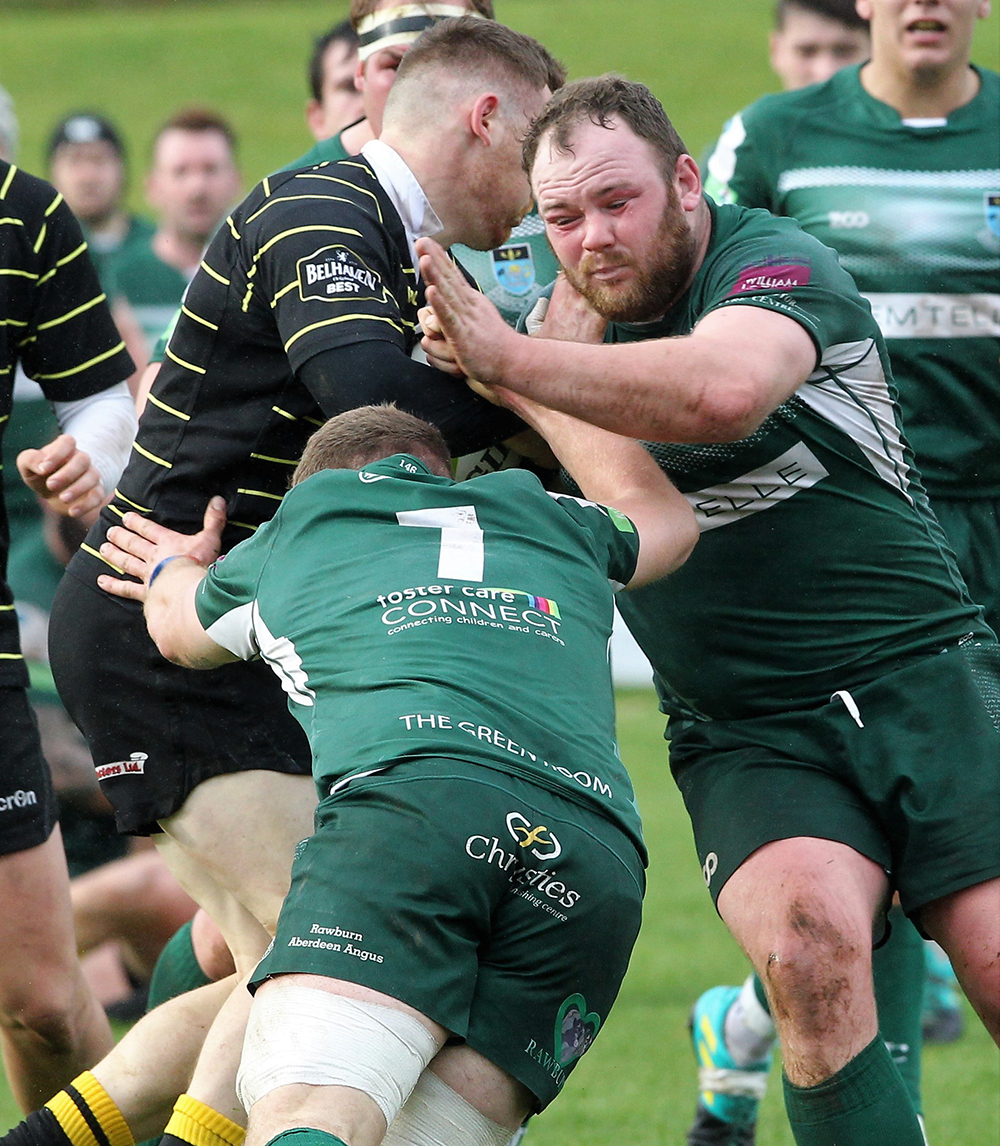 Hawick put up a brave fight against Melrose. Photo: Douglas Hardie