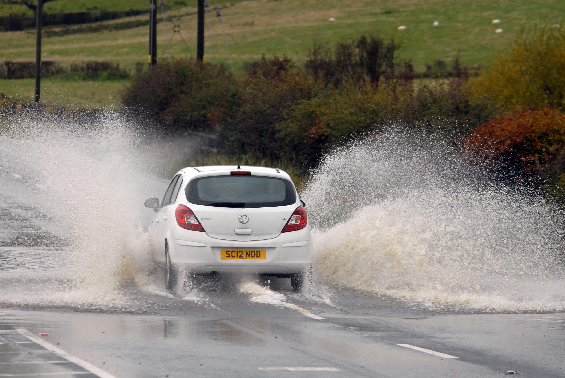 Standing water is causing difficult driving conditions