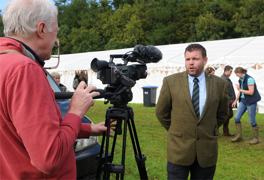 "Yarrow & Ettrick Show announcer Bryan Hoggan is interviewed by John Smail for ""A Souter's Year"" back in September. Photo: Grant Kinghorn"