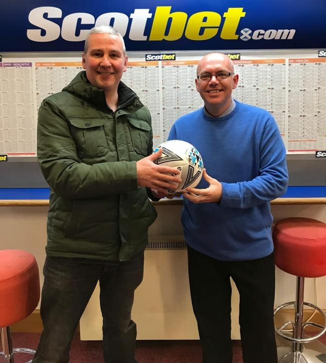 Selkirk victoria manager with match sponsor Andy Bennett of Scotbet