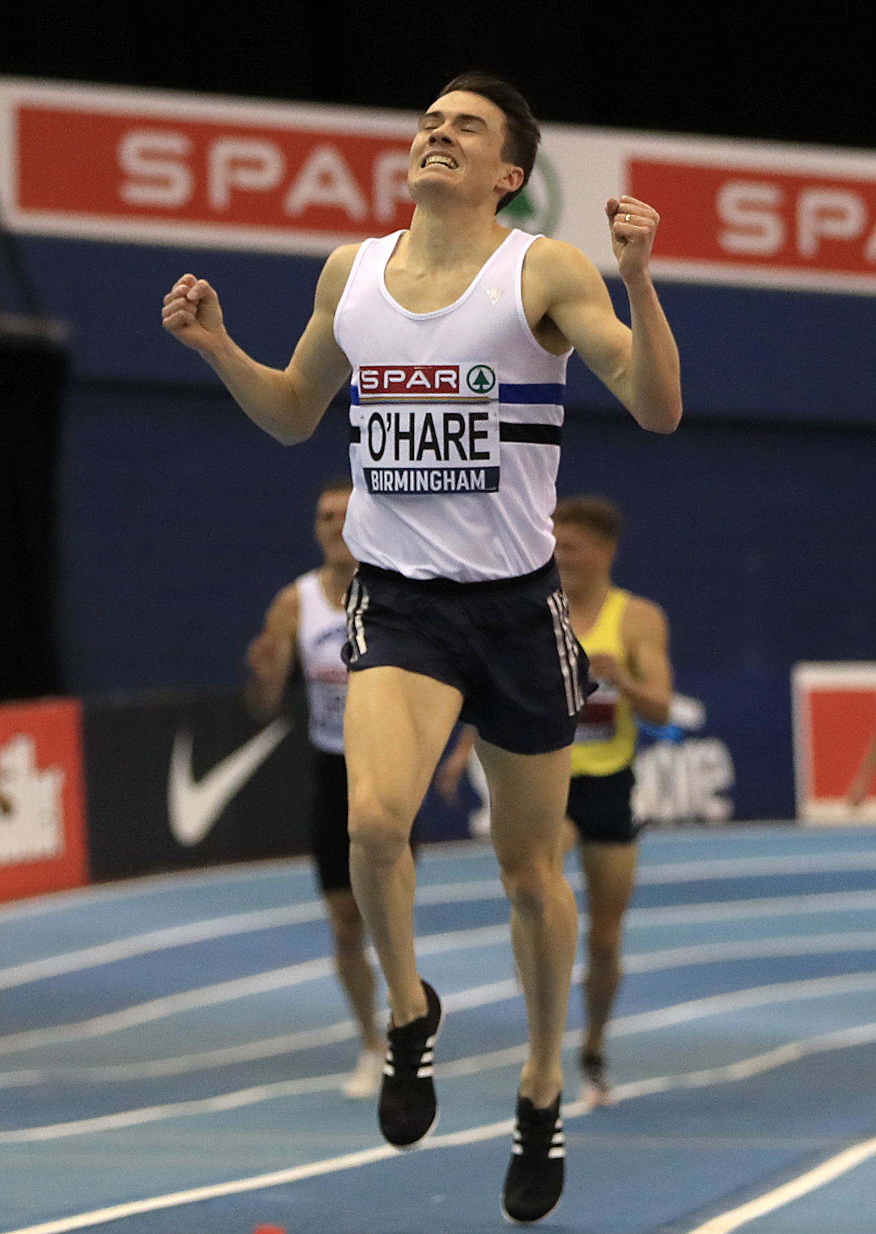 Chris O'Hare celebrates winning the Men's 3000 metres during day two of the SPAR British Athletic Indoor Championships at Arena Birmingham. PRESS ASSOCIATION Photo. Picture date: Sunday February 10, 2019. See PA story ATHLETICS Birmingham. Photo