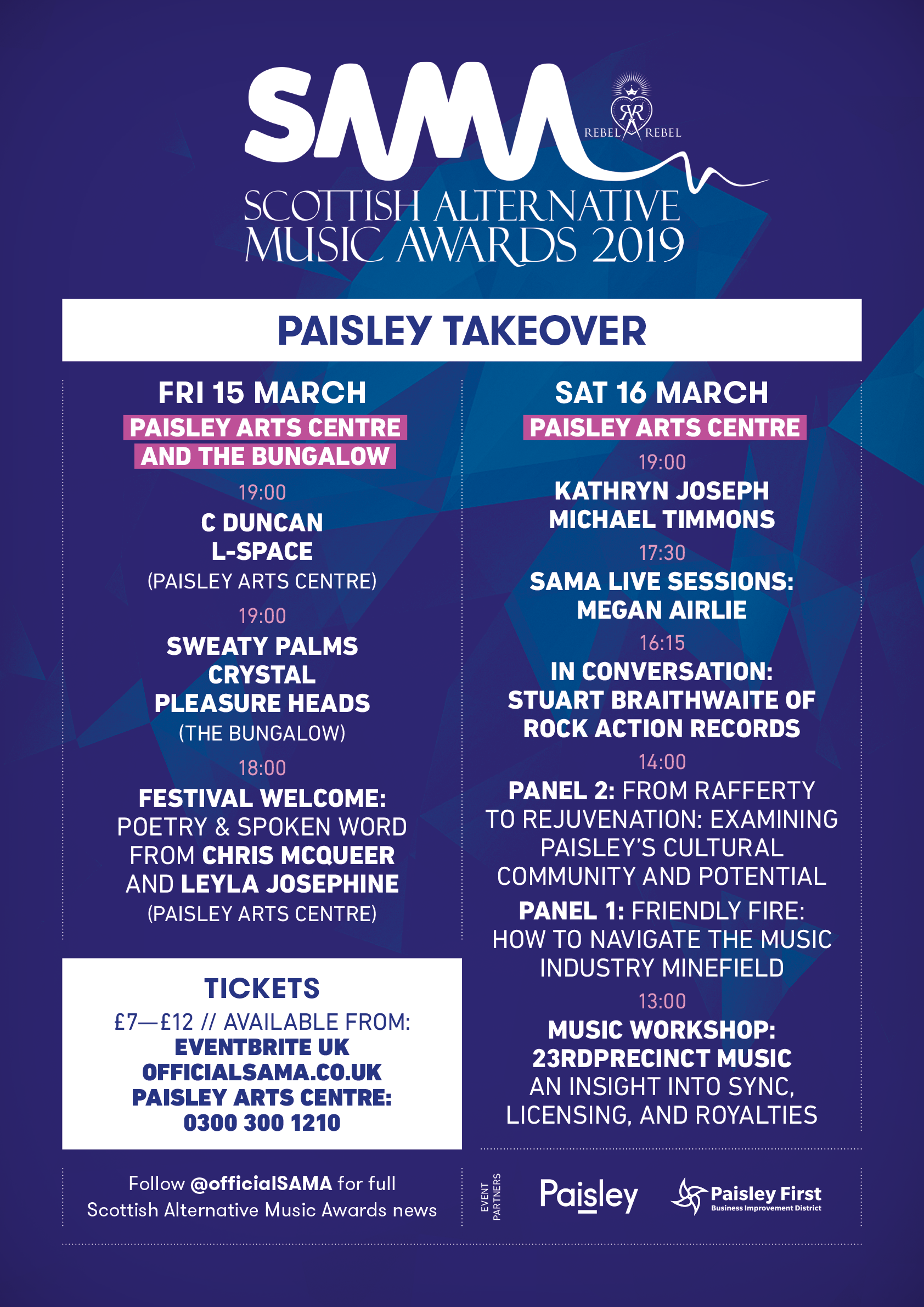 SAMA's Paisley Takeover 2019 featuring Kathryn Joseph, C Duncan, Sweaty Palms & more