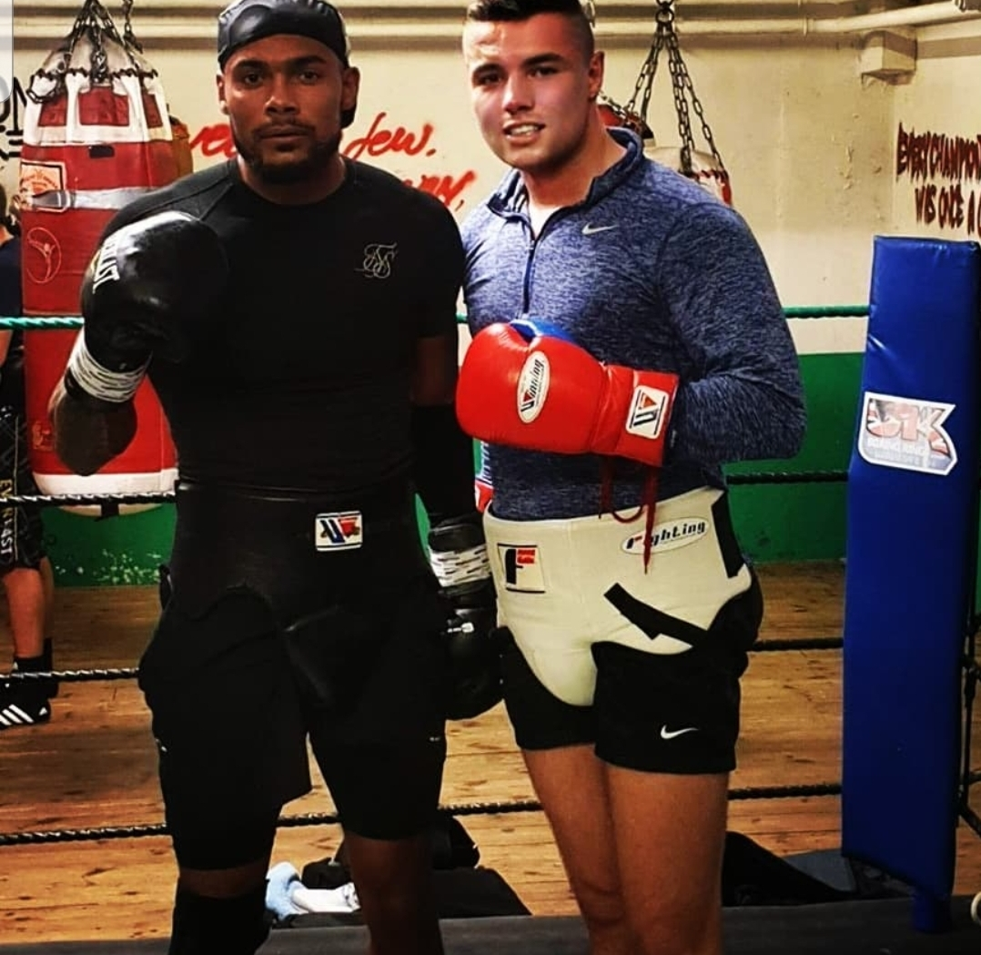 Galashiels boxer John McCallum pictured with Sebastian Eubank