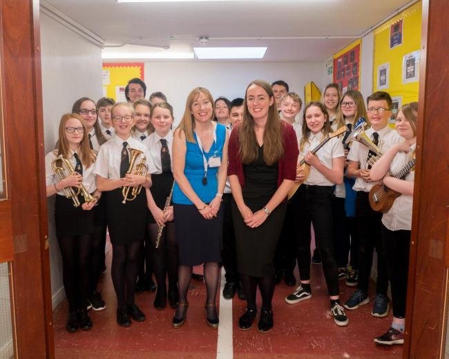S2 and S3 pupils with teacher, Miss Bennett, and Energise Galashiels Emily McGowan