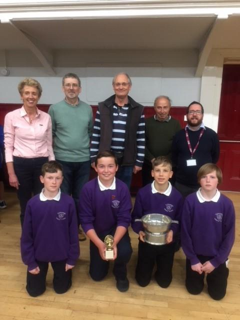 Pupils Aidan Falconer, Kyle Anderson, Frank Rogerson and Shane Ross with the trophy